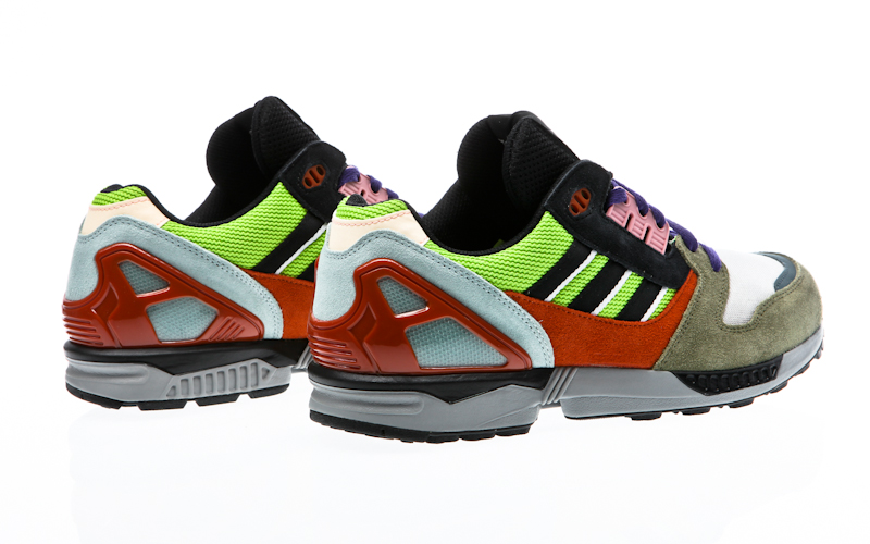 Red And Black Adidas Running Shoes With Reflective Material
