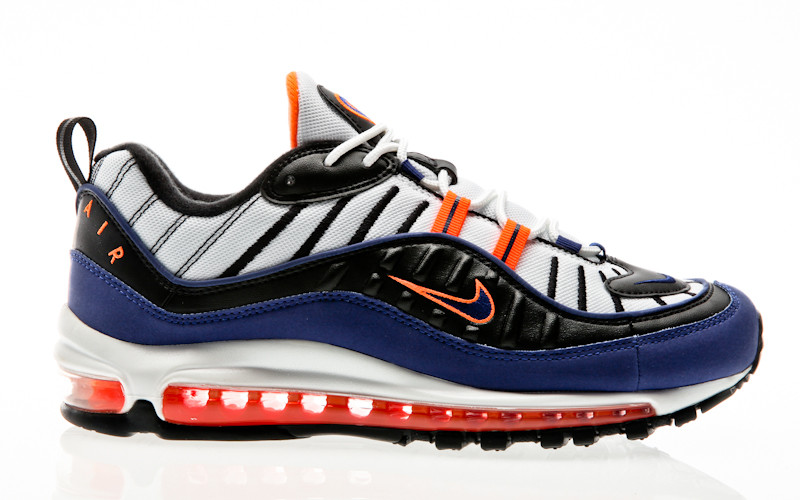 brand new 33aed 29eff Nike Air Max 98 white-deep royal blue-total orange-black