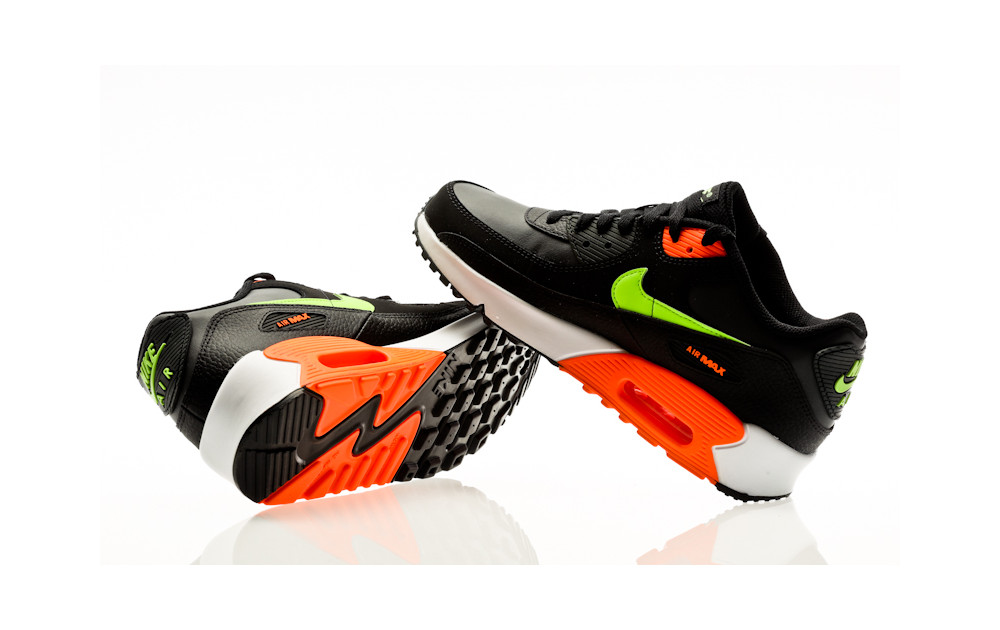 nike AIR MAX 90 GS BLACKGHOST GREEN TOTAL ORANGE bei