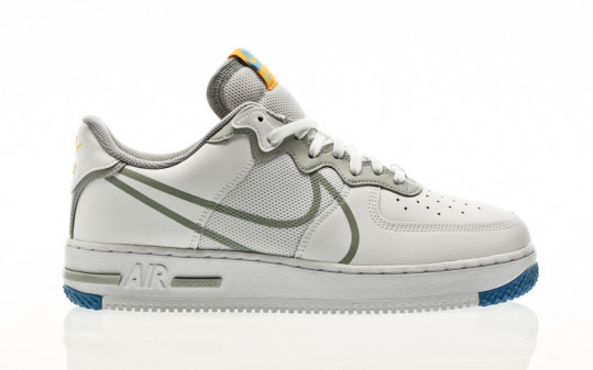 Nike Air Force 1 React white-lt smoke grey-university gold