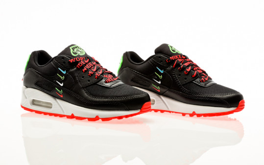 Nike Air Max 90 SE black-black-flash crimson-green strike