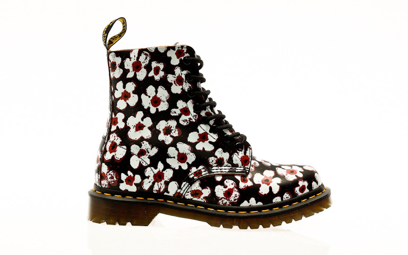 Dr. Martens 1460 Pascal black-red pansy fayre vintage smooth