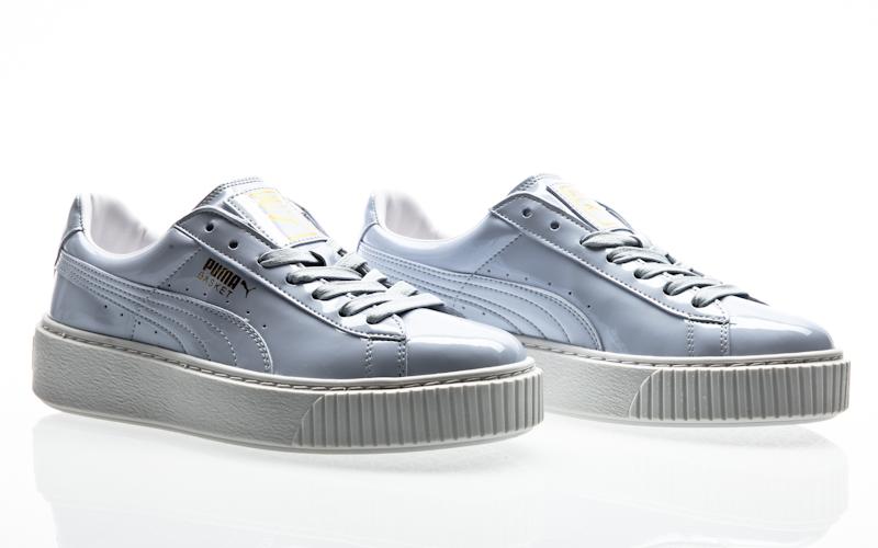 dd7bc6ae6cc Puma Basket platform patent Womens oatmeal-oatmeal 363314-02 sneaker shoes