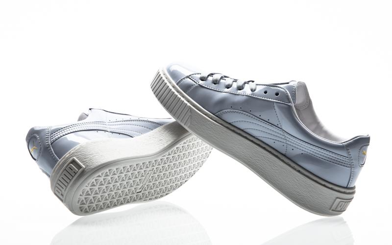 8b44adf28111 Puma Basket platform patent Womens oatmeal-oatmeal 363314-02 sneaker shoes